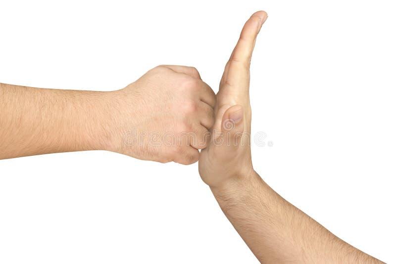 Flache Handgegenüberliegende geballte Faust lokalisiert lizenzfreies stockfoto