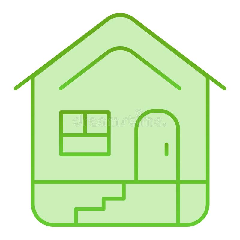 Flache Hauptikone Hausgrünikonen in der modischen flachen Art Errichtender Steigungsartentwurf, bestimmt für Netz und App ENV 10 vektor abbildung