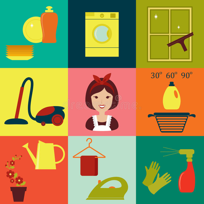 Flache Haushaltungsikonen lizenzfreie abbildung