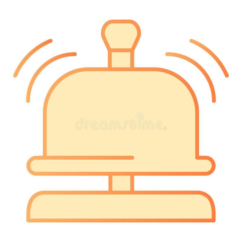Flache Ikone der Aufnahmeglocke Orange Ikonen der Hotelglocke in der modischen flachen Art Solider wachsamer Steigungsartentwurf, lizenzfreie abbildung