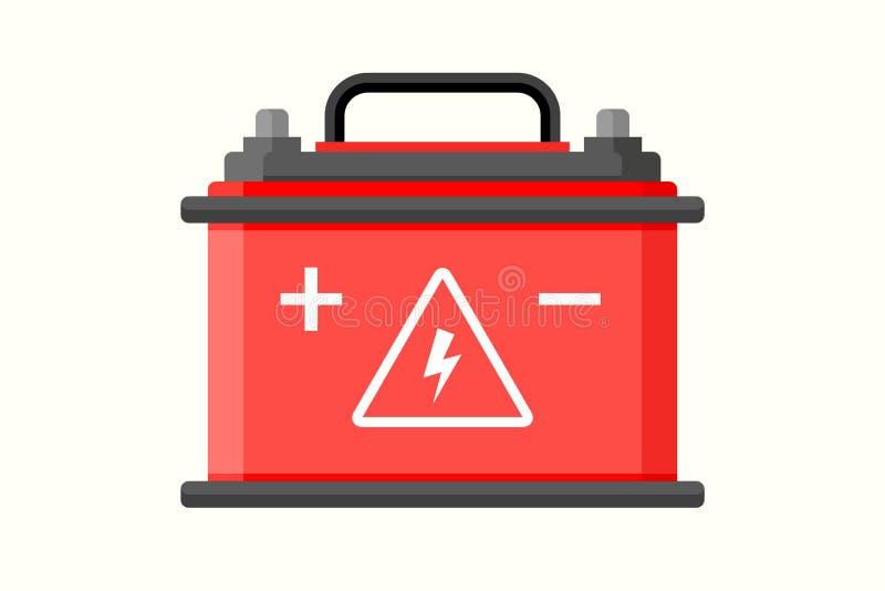 Flache Ikone der Autobatterie Elektrisches Akkumulatorladegerät Batterieleistungs-Fahrzeugenergie-Generatorauto stock abbildung