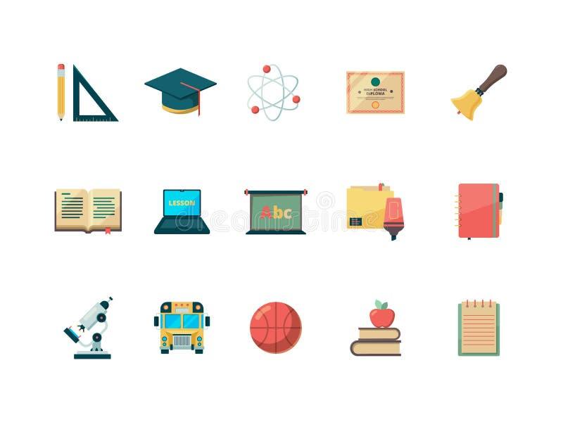 Flache Ikone der Bildung Die Schule, die Collegebuchball- und -taschenvektorausbildungssymbole lernt, lokalisierte lizenzfreie abbildung