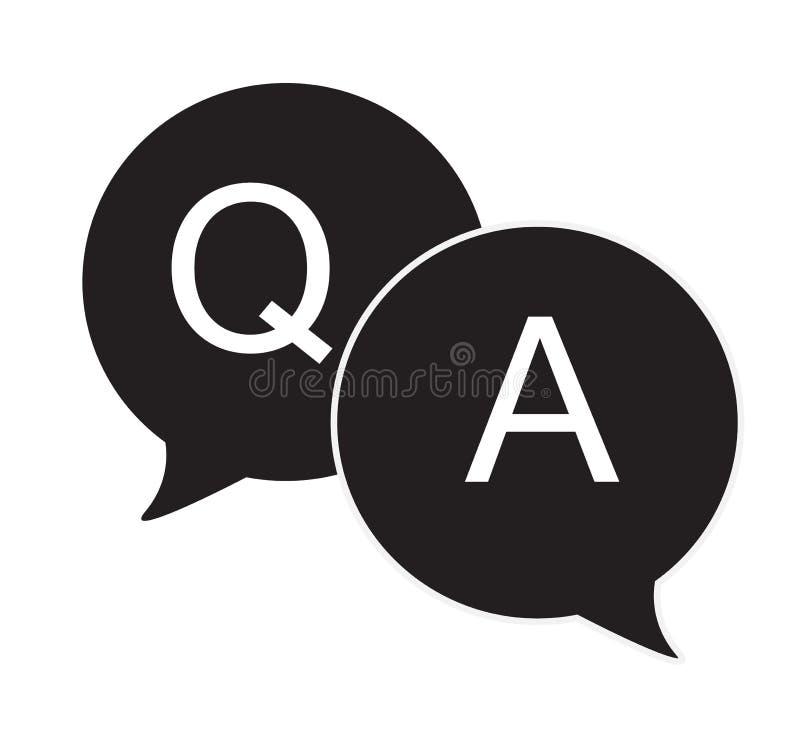 Flache Ikone der Fragen- u. Antwortspracheblasen lizenzfreie abbildung