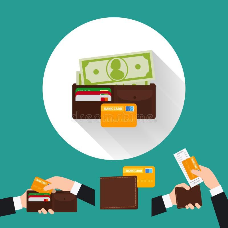 Flache Ikone der Geldbörse mit Karte und Bargeld stock abbildung