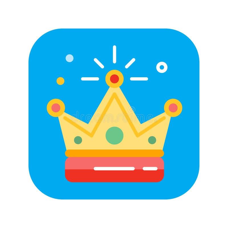 Flache Ikone der goldenen Krone Farb Lokalisierte flache Zeichnung, Illustration lizenzfreie abbildung