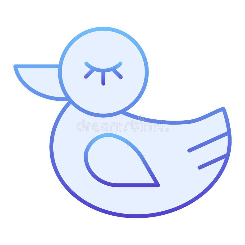 Flache Ikone der Gummiente Blaue Ikonen des Spielzeugs in der modischen flachen Art Badspielzeugsteigungs-Artentwurf, bestimmt f? vektor abbildung