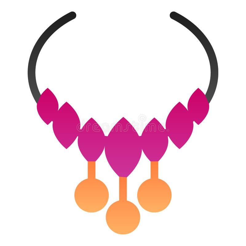 Flache Ikone der Halskette Schmuckfarbikonen in der modischen flachen Art Perlensteigungs-Artentwurf, bestimmt für Netz und App E lizenzfreie abbildung