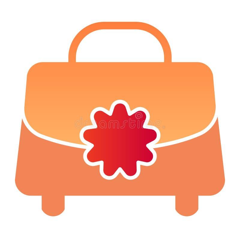 Flache Ikone der Handtasche Taschen-Farbikonen der Frau in der modischen flachen Art Geldbeutelsteigungs-Artentwurf, bestimmt für stock abbildung