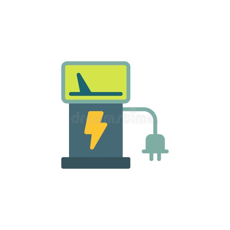 Flache Ikone der Ladestation des Elektroautos vektor abbildung
