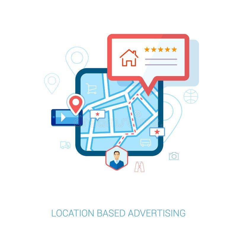 Flache Ikone der lokalen Navigation des Stadtplans beweglichen lizenzfreie abbildung