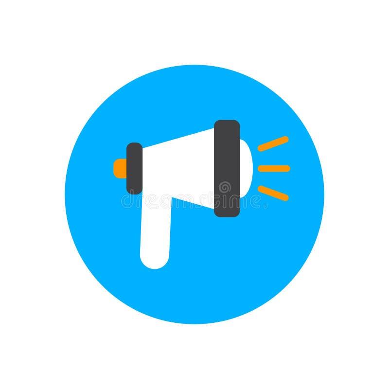 Flache Ikone der Mitteilung Runder bunter Knopf, Megaphonlautsprecherkreisvektorzeichen, Logoillustration stock abbildung