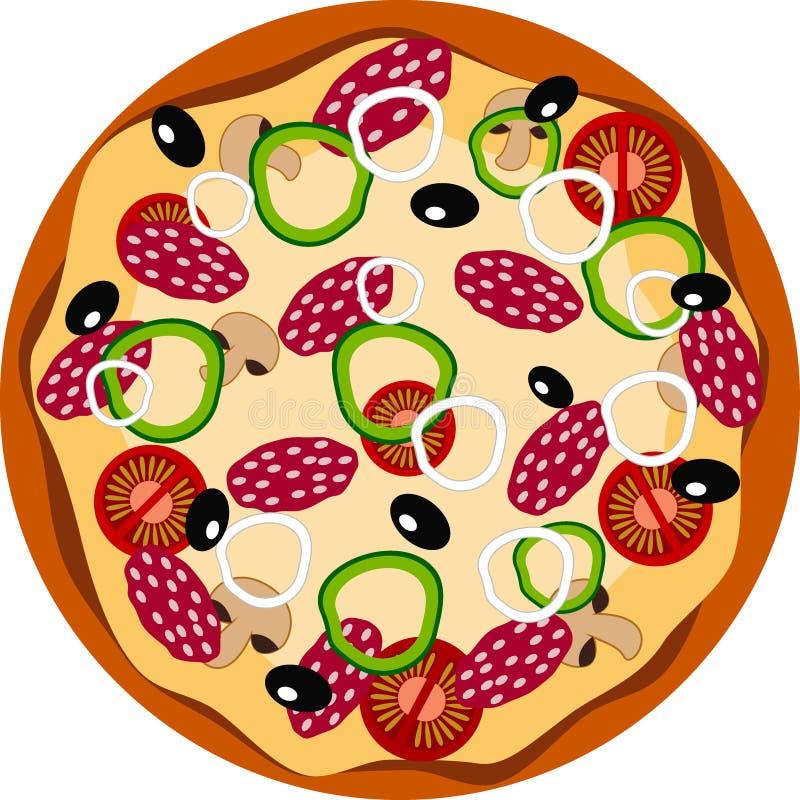 Flache Ikone der Pizza stock abbildung
