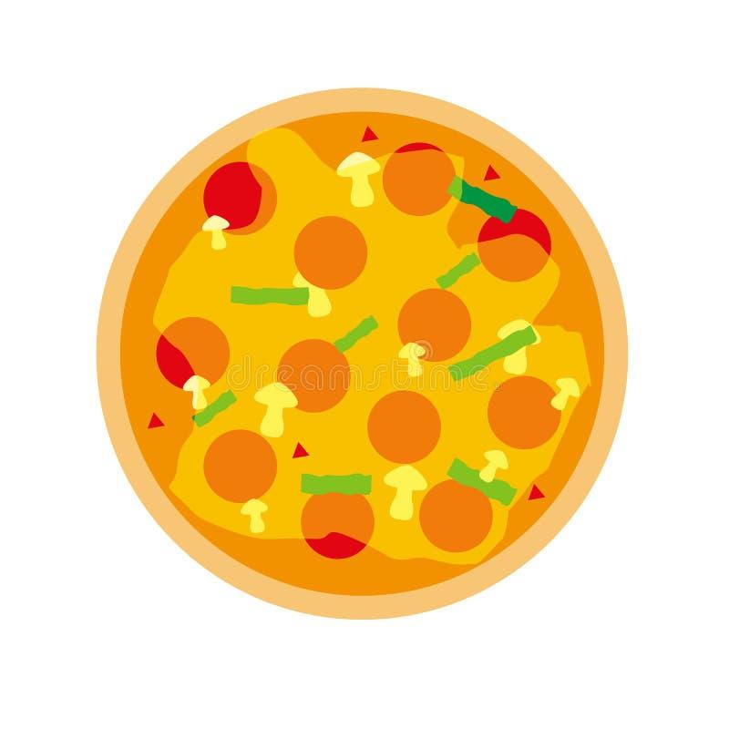 Flache Ikone der Pizza lokalisiert auf weißem Hintergrund Pizzalebensmittelschattenbild Stück, vegetarische Scheibe Lebensmittelm vektor abbildung