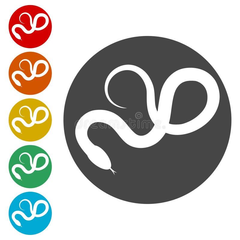 Flache Ikone der Reptilschlange für Tier-apps lizenzfreie abbildung