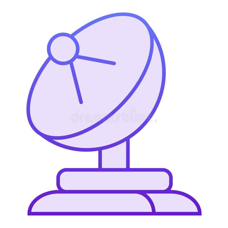 Flache Ikone der Satellitenschüssel Violette Ikonen der Antenne in der modischen flachen Art Fernsehsteigungs-Artentwurf, bestimm vektor abbildung