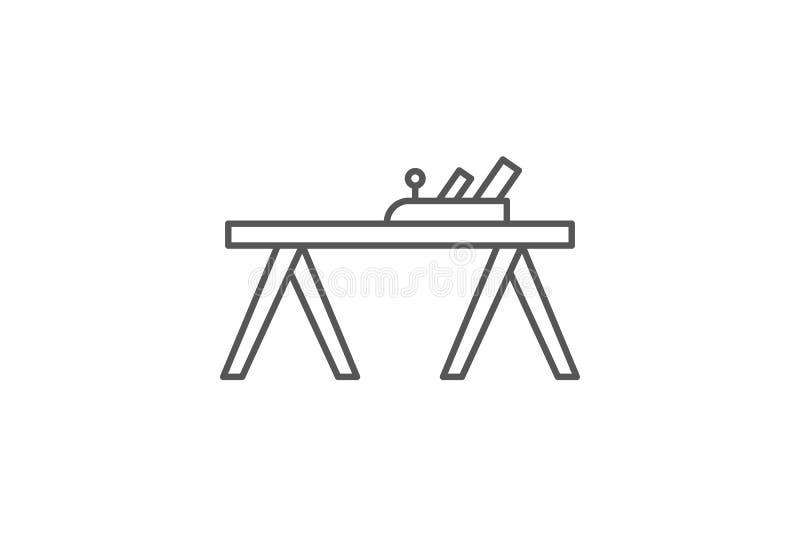 Flache Ikone der Tischler in der linearen Art lizenzfreie abbildung