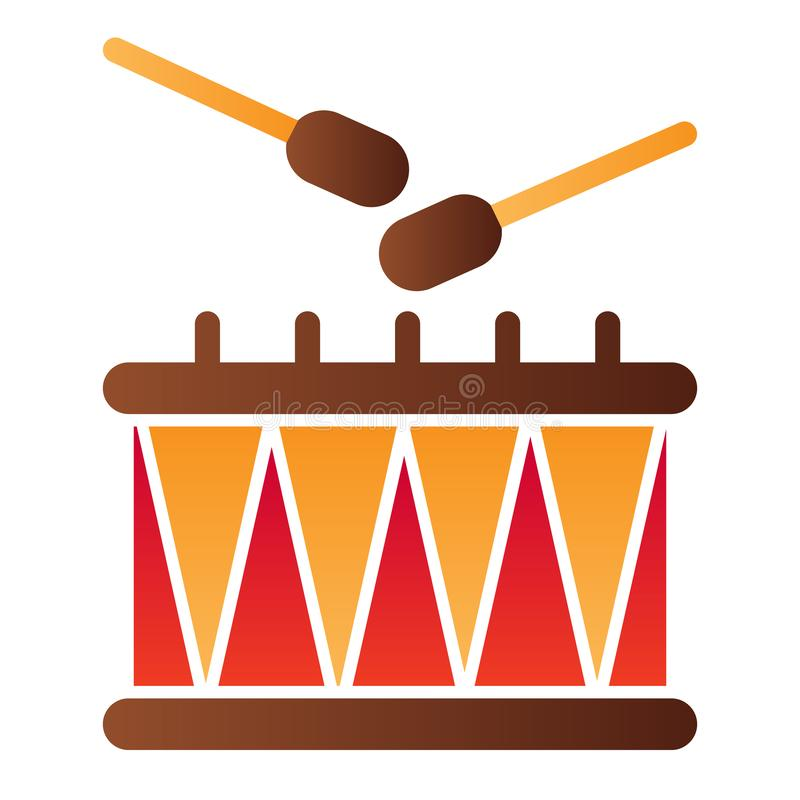 Flache Ikone der Trommel und der St?cke Musikinstrument-Farbikonen in der modischen flachen Art Rhythmussteigungs-Artentwurf, ent vektor abbildung