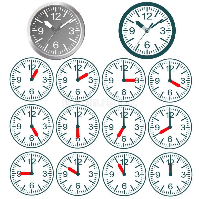 Flache Ikone der Uhr Stoppuhr als Erdkugel auf einem weißen Hintergrund lizenzfreie abbildung