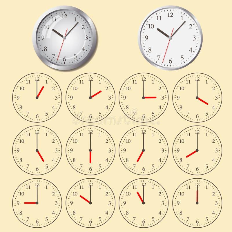 Flache Ikone der Uhr Stoppuhr als Erdkugel auf einem weißen Hintergrund vektor abbildung