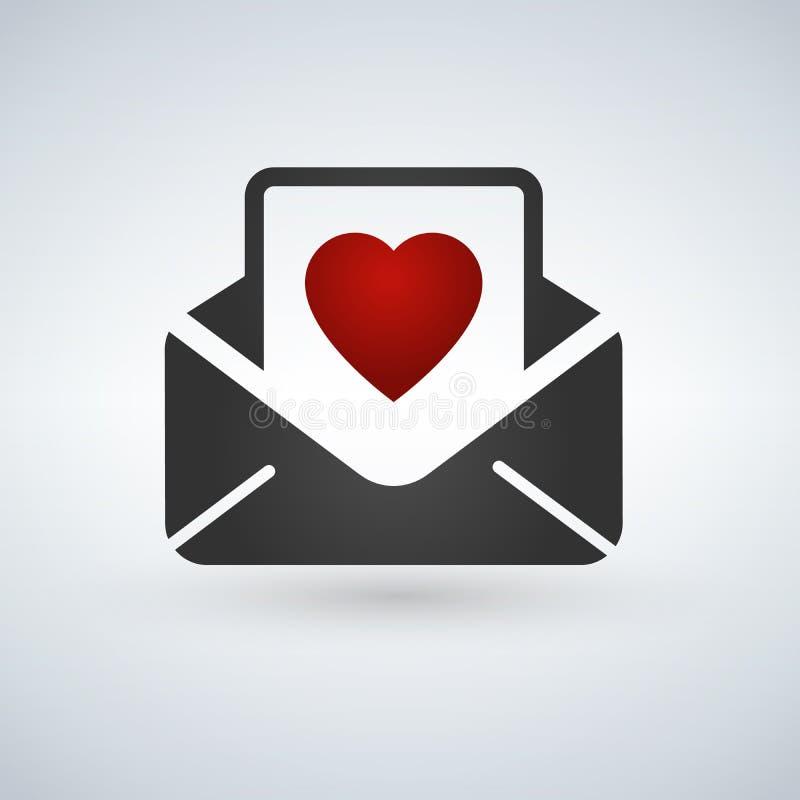 flache Ikone der Valentinstagkartenumschlag-Farblinie auf weißem Hintergrund lizenzfreie abbildung