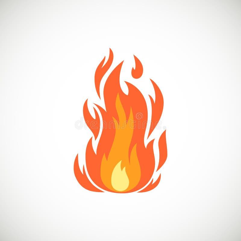 Flache Ikone der Vektorkarikatur der brennenden Flamme vektor abbildung