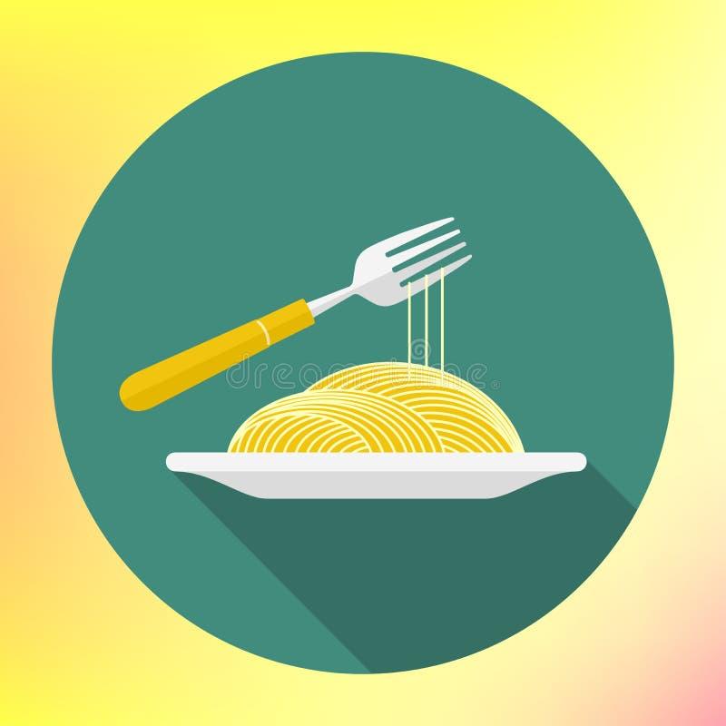 Flache Ikone der Vektorspaghetti-Gabel vektor abbildung