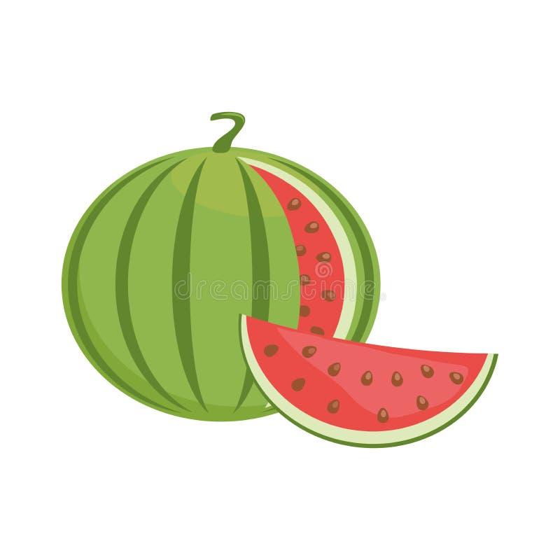 Flache Ikone der Wassermelone stock abbildung