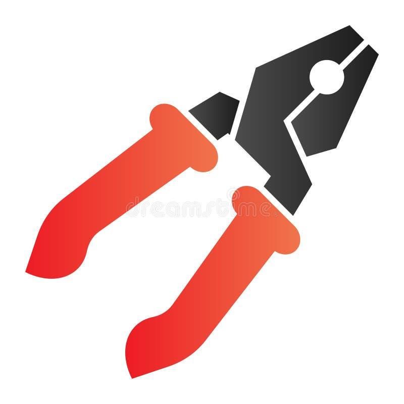 Flache Ikone der Zangen Reparaturfarbikonen in der modischen flachen Art Werkzeugsteigungs-Artentwurf, bestimmt f?r Netz und App  lizenzfreie abbildung