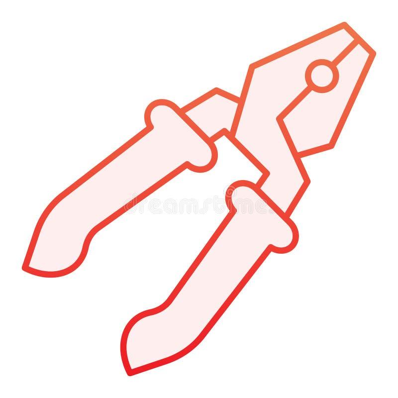 Flache Ikone der Zangen Rote Ikonen der Reparatur in der modischen flachen Art Werkzeugsteigungs-Artentwurf, bestimmt für Netz un lizenzfreie abbildung