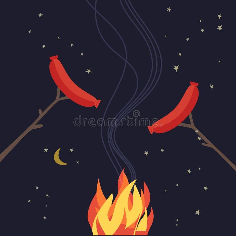 Flache Ikone der Zeltplatznachtpicknickpartei Farb stock abbildung