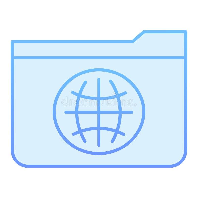 Flache Ikone des allgemeinen Ordners Ordner mit blauen Ikonen der Kugel in der modischen flachen Art Computerordnersteigungs-Arte lizenzfreie abbildung