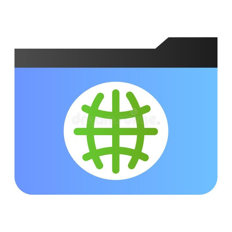 Flache Ikone des allgemeinen Ordners Ordner mit Kugelfarbikonen in der modischen flachen Art Computerordnersteigungs-Artentwurf lizenzfreie abbildung