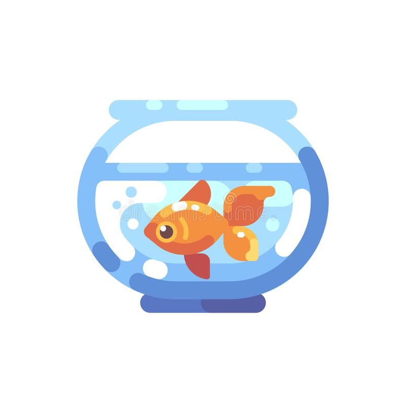 Flache Ikone des Aquariums Rundes Aquarium mit Goldfisch flachem illustrat stock abbildung