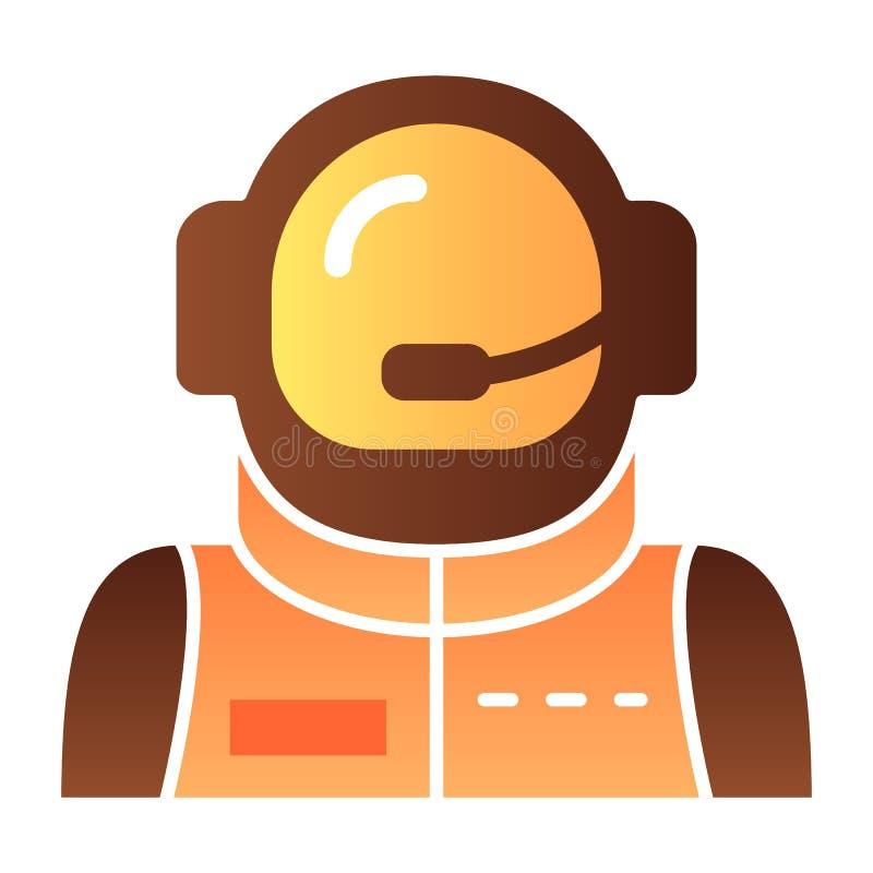 Flache Ikone des Astronautenavataras Raumfahrerfarbikonen in der modischen flachen Art Kosmonautsteigungs-Artentwurf, bestimmt fü vektor abbildung