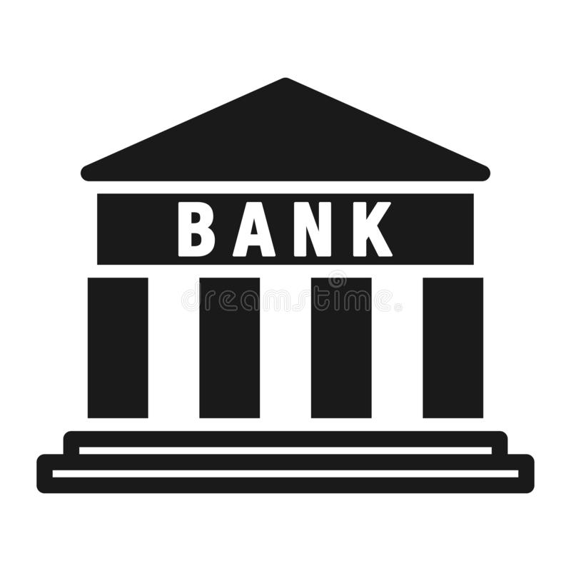 Flache Ikone des Bankgebäudes Auch im corel abgehobenen Betrag vektor abbildung