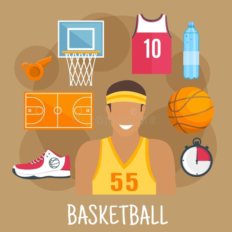 Flache Ikone des Basketballschutzes für Ballsport entwerfen stock abbildung