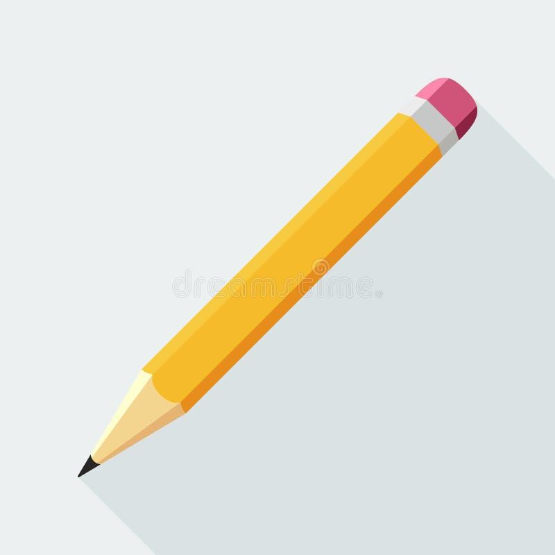 Flache Ikone des Bleistifts stock abbildung