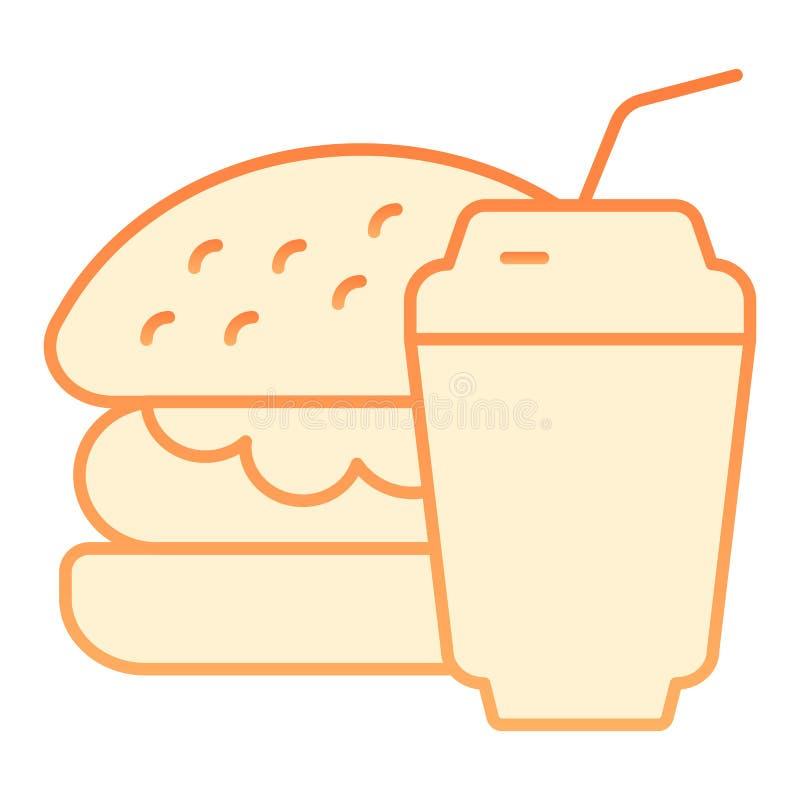 Flache Ikone des Burgers und des Sodas Orange Ikonen des Schnellimbisses in der modischen flachen Art Hamburger und Getränksteigu vektor abbildung