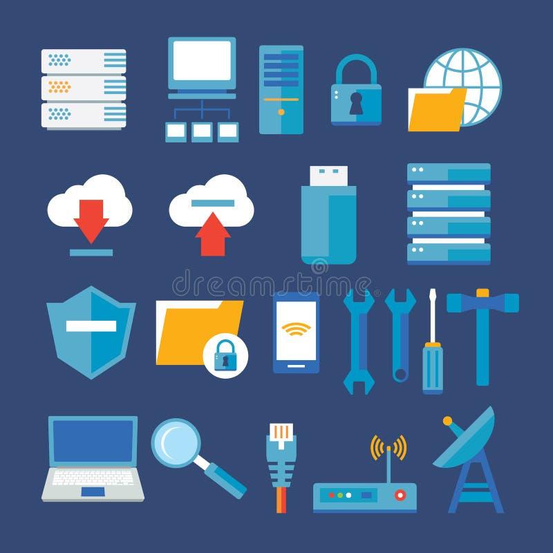 Flache Ikone des Computernetzwerks und der Datenbank vektor abbildung
