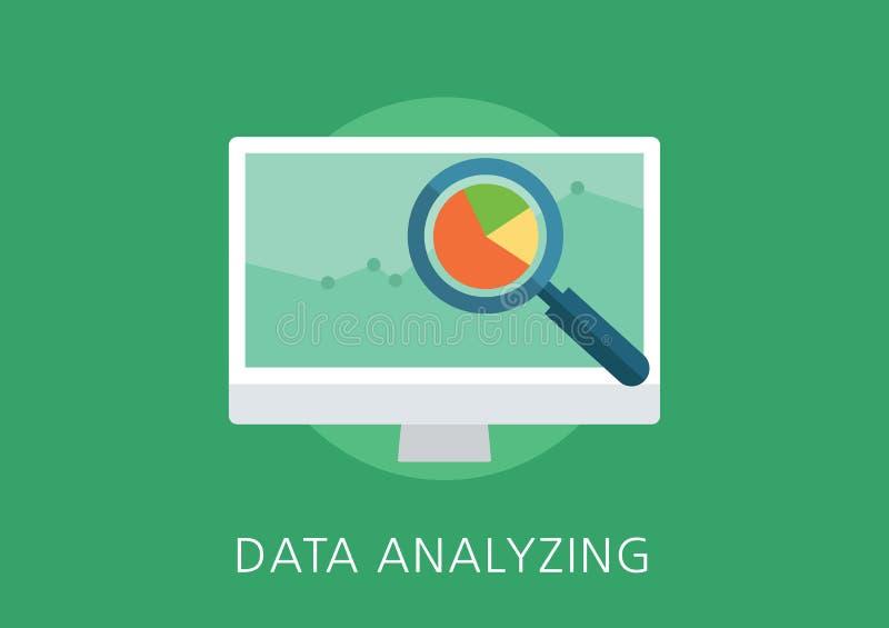 Flache Ikone des Datenanalytik-Konzeptes stock abbildung