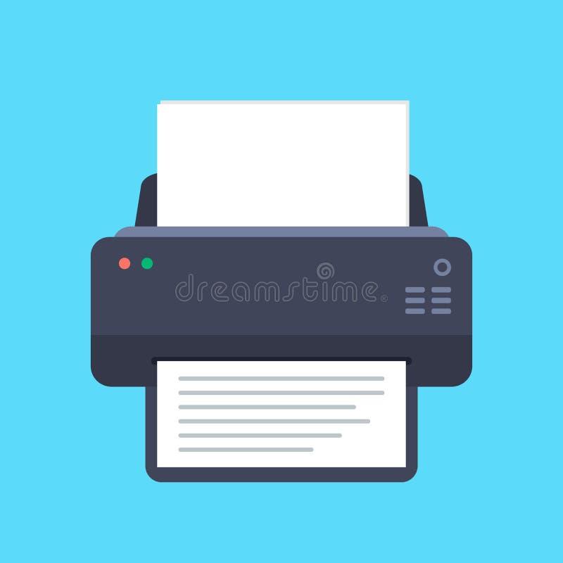 Flache Ikone des Druckers mit langem Schatten Beschneidungspfad eingeschlossen Auch im corel abgehobenen Betrag stock abbildung
