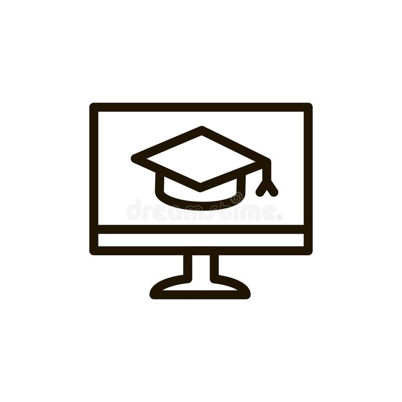 Flache Ikone des E-Learnings stock abbildung