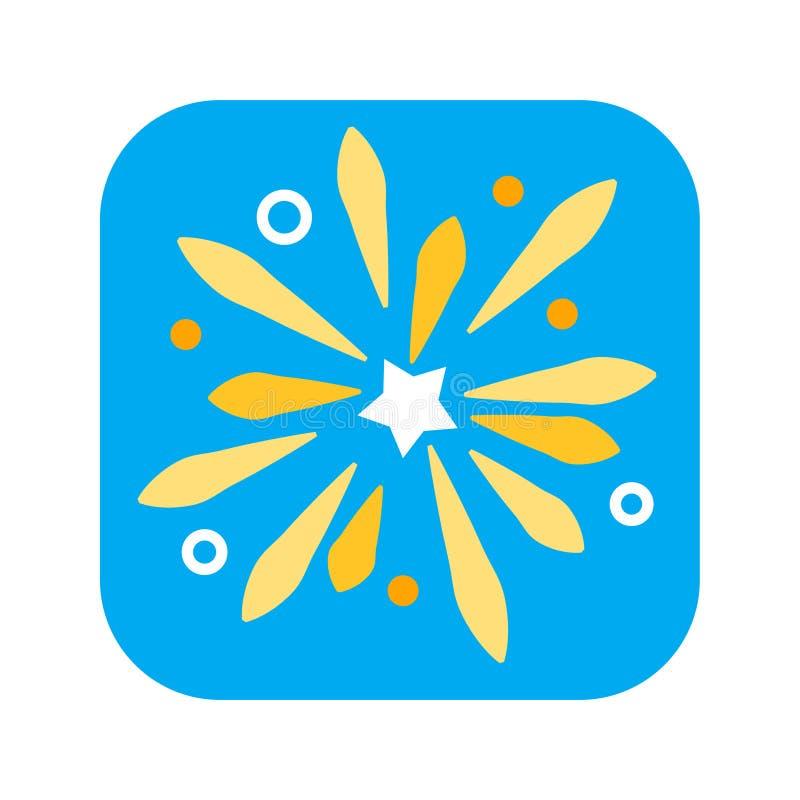 Flache Ikone des Feiertagsfeuerwerks Farb Pyrotechnik, Begrüßungskonzept lizenzfreie abbildung