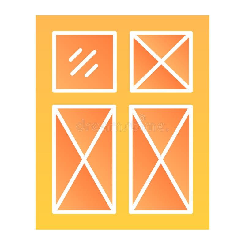 Flache Ikone des Fensters E Glassteigungsartentwurf, bestimmt f?r Netz und App ENV 10 vektor abbildung