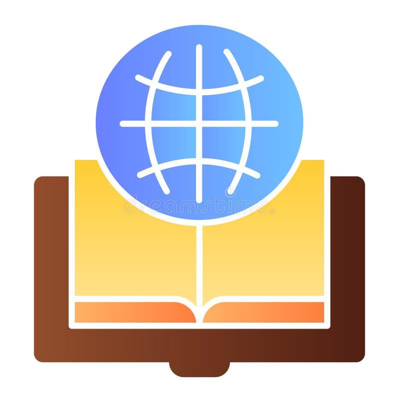 Flache Ikone des Fremdsprachebuches Kugel- und Buchfarbikonen in der modischen flachen Art Geöffneter Buchsteigungs-Artentwurf stock abbildung