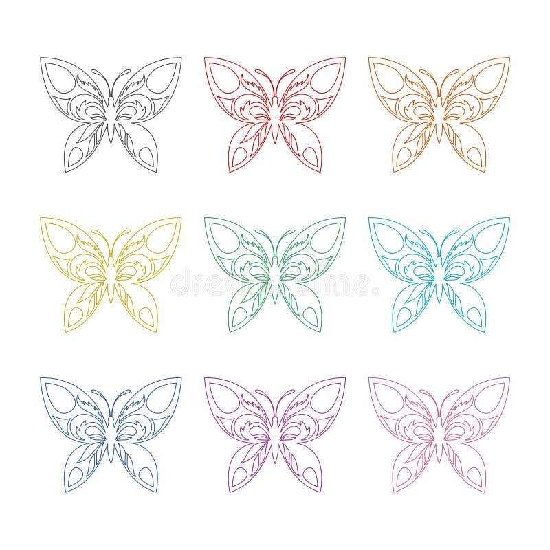 Flache Ikone des geflügelten Insekts des Schmetterlinges oder Logo, Farbsatz lizenzfreie abbildung