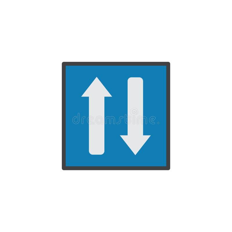 Flache Ikone des Gegenverkehrs lizenzfreie abbildung