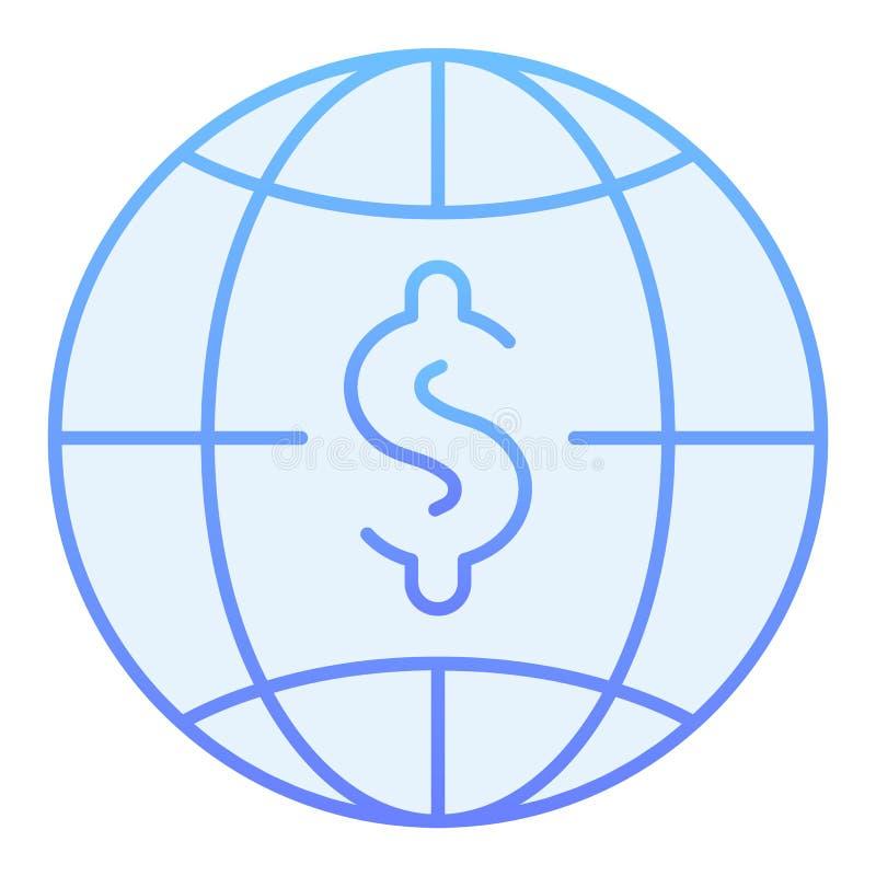 Flache Ikone des Globalbudgets Blaue Ikonen des Weltgeldes in der modischen flachen Art Dollar mit dem Kugelsteigungs-Artentwurf, vektor abbildung