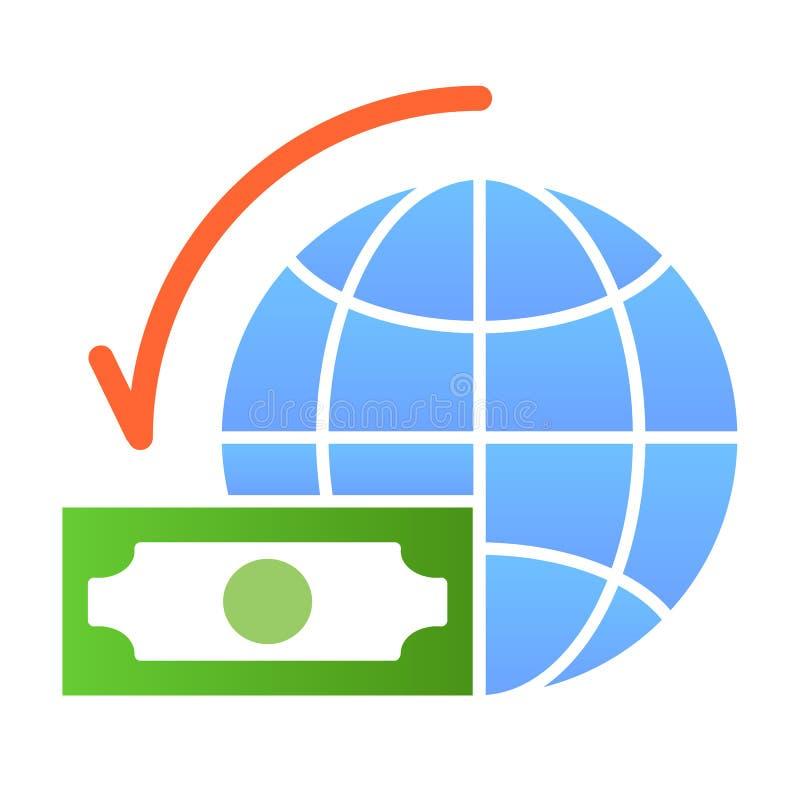 Flache Ikone des Globalbudgets Geld- und Planetenfarbikonen in der modischen flachen Art Dollar mit Weltkugel-Steigungsart vektor abbildung
