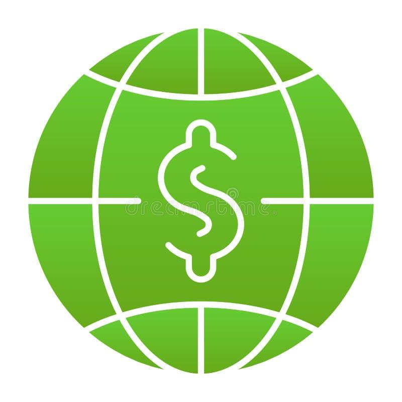Flache Ikone des Globalbudgets Weltgeld-Farbikonen in der modischen flachen Art Dollar mit dem Kugelsteigungs-Artentwurf, entworf stock abbildung
